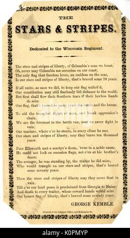 """Breitseite aus dem Amerikanischen Bürgerkrieg mit dem Titel """"Stars and Stripes"""", feiert die amerikanische Flagge - Stockfoto"""