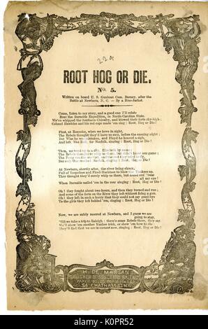 """Breitseite aus dem amerikanischen Bürgerkrieg, der den Titel """"Root Hog oder Sterben"""", lobte Union beheben in den - Stockfoto"""