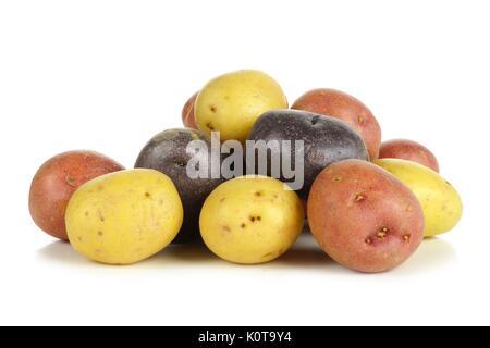 Stapel der farbenfrohen frische kleine Kartoffeln über einen weißen Hintergrund - Stockfoto