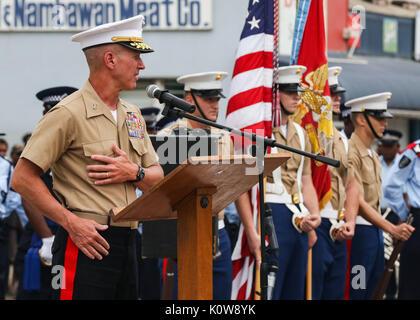 Us Marine Corps Generalmajor Eric M. Smith, Kommandierender General der 1. Marine Division, liefert eine Rede nach - Stockfoto
