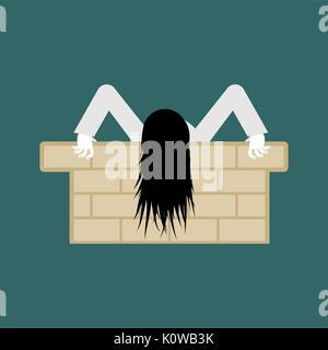 Hexe zombie isoliert. Zombie girl mit langen Haaren. Abbildung für Halloween - Stockfoto