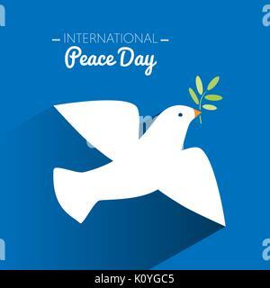 Internationaler Tag des Friedens Taube fliegen und Olive Branch. Vector Illustration - Stockfoto