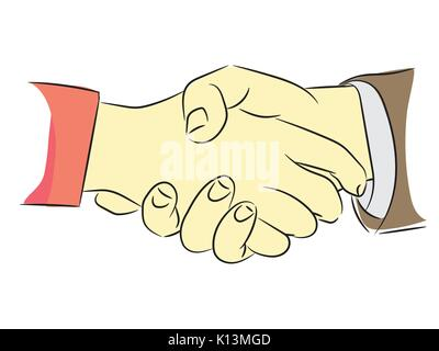 Schütteln Hände flach Design Konzept. Handshake, geschäftliche Vereinbarung, Partnerschaft Konzepte. Zwei Hände - Stockfoto