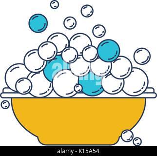 Farbe blau und gelb Abschnitte Silhouette mit Schüssel und Seifenblasen - Stockfoto