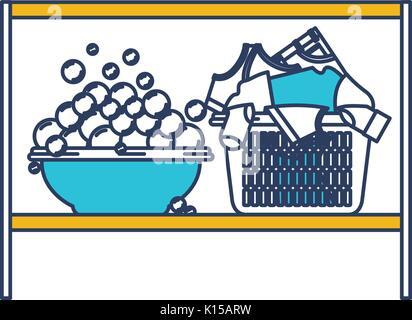 Farbe blau und gelb Abschnitte Silhouette von Rack mit Schüssel mit Seife Waschmittel und vollen Wäschekorb - Stockfoto