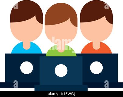 Teamarbeit Menschen Avatare mit Laptops - Stockfoto