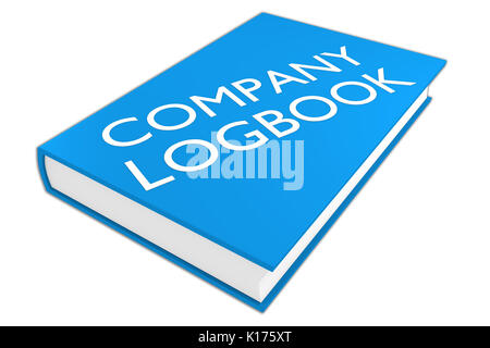 3D-Darstellung von 'FIRMA LOGBUCH' Skript auf einem Buch, einer isoliert auf Weiss. Administrative Konzept. - Stockfoto