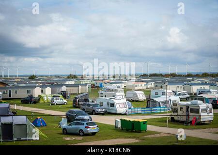 Campingplatz am Camber Sands, East Sussex, Großbritannien - Stockfoto