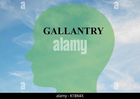 Render Abbildung: GALANTERIE Skript auf dem Kopf silhouette, mit bewölktem Himmel als Hintergrund. Die menschliche - Stockfoto
