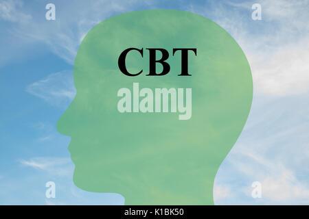 Render Abbildung: CBT-Skript auf dem Kopf silhouette, mit bewölktem Himmel als Hintergrund. Die menschliche Mentalität - Stockfoto