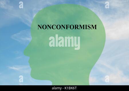 Render Abbildung: NONCONFORMISM Titel auf dem Kopf silhouette, mit bewölktem Himmel als Hintergrund. Die menschliche - Stockfoto