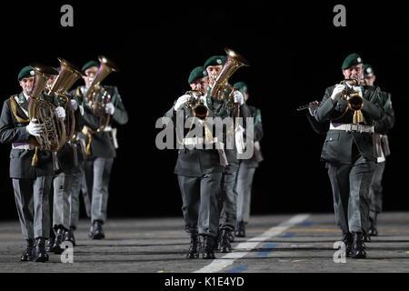 Moskau, Russland. 25 Aug, 2017. Österreichs Military Band, Militarmusik hinsichtlich der, an der Generalprobe der - Stockfoto