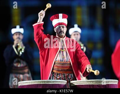 Moskau, Russland. 25 Aug, 2017. Türkische Streitkräfte Mehteran Einheit an der Generalprobe der Eröffnungsfeier - Stockfoto
