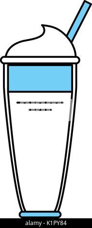 Flache Linie monocromatic Glas über weißen Hintergrund Vector Illustration - Stockfoto