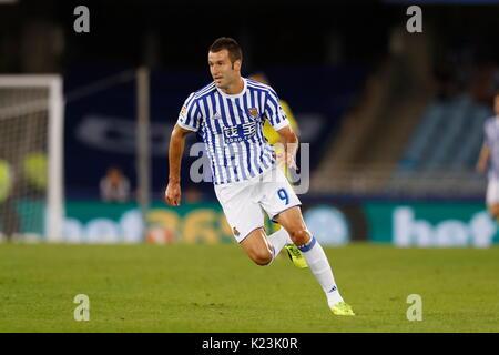 """San Sebastian, Spanien. 25 Aug, 2017. Imanol Agirretxe (Sociedad) Fußball: Spanisch """"La Liga Santander' Match zwischen - Stockfoto"""