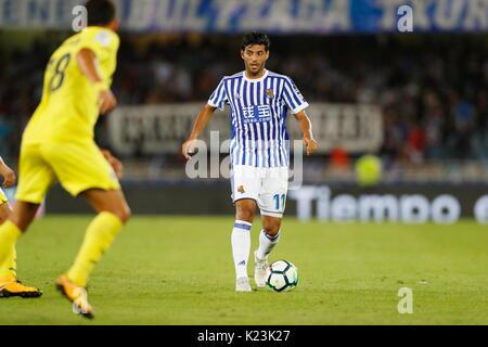 "San Sebastian, Spanien. 25 Aug, 2017. Carlos Vela (Sociedad) Fußball: Spanisch ""La Liga Santander' Match zwischen - Stockfoto"
