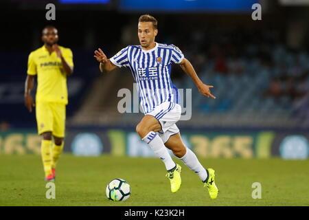 """San Sebastian, Spanien. 25 Aug, 2017. Sergio Canales (Sociedad) Fußball: Spanisch """"La Liga Santander' Match zwischen - Stockfoto"""