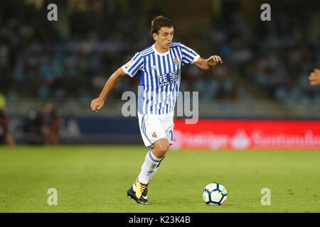 "San Sebastian, Spanien. 25 Aug, 2017. Mikel Oyarzabal (Sociedad) Fußball: Spanisch ""La Liga Santander' Match zwischen - Stockfoto"