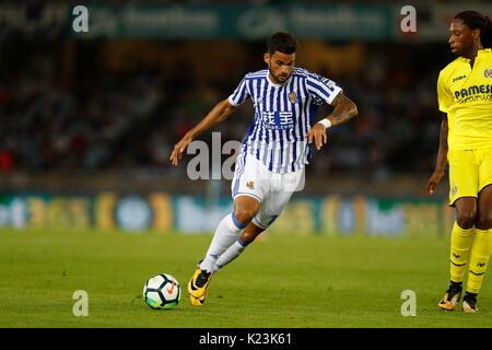 """San Sebastian, Spanien. 25 Aug, 2017. William Jose (Sociedad) Fußball: Spanisch """"La Liga Santander' Match zwischen - Stockfoto"""