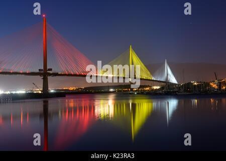 Queensferry, Schottland, Großbritannien. 29 August, 2017. UK. Letzte Vorbereitungen für die Eröffnung des neuen £ 1,35 Mrd. Queensferry Kreuzung Brücke über den River Forth, am Mittwoch.