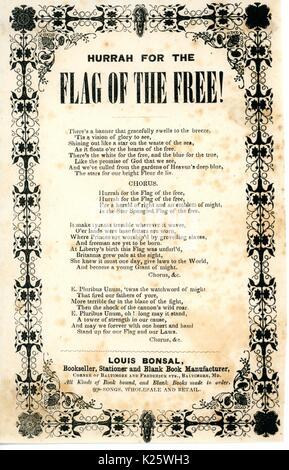 """Breitseite aus dem Amerikanischen Bürgerkrieg mit dem Titel """"Hurra für die Flagge der Freien"""" und pries die amerikanische - Stockfoto"""