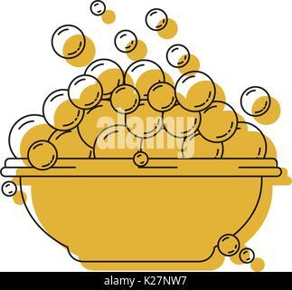 Gelb aquarell Silhouette mit Schüssel und Seifenblasen - Stockfoto