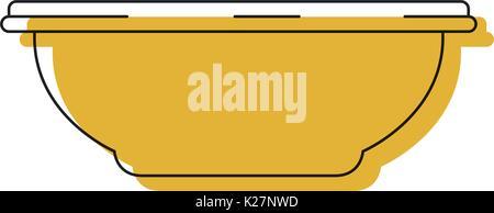 Gelb aquarell Silhouette der Schüssel für Wasser oder Reinigung - Stockfoto