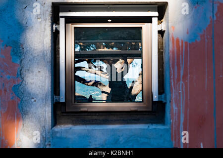 Die Bauarbeiter Schatten durch ein Fenster in ein neues Zuhause in Südfrankreich gebaut werden - Stockfoto