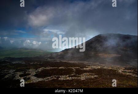 Hütte Kreis Gruppen innerhalb der Eisenzeit Hill fort, Tre'r Ceiri in der Nähe von Jahr Eifl, oben Nefyn, Gwynedd, - Stockfoto