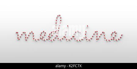 Rote und weiße Kapseln bilden das Wort Medizin - Stockfoto