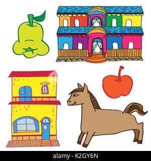 Der Bunte Kid Zeichnung Haus, Pferd, Obst. Doodle style-Vector Illustration - Stockfoto