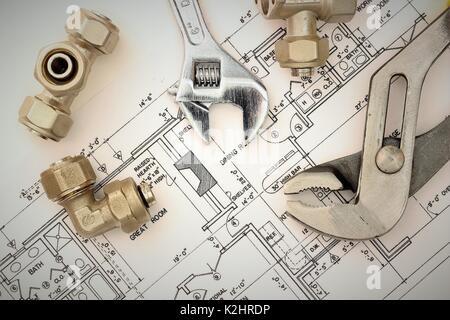 ... Sanitär Anlagen Auf Haus Plant, Werkzeug   Stockfoto