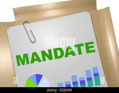 """3D-Darstellung der """"Mandat"""" Titel auf Business Document - Stockfoto"""