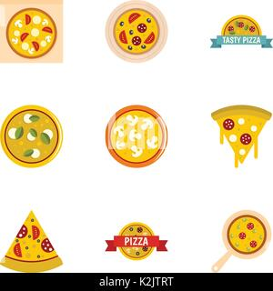 Pizza Sortiment Symbole, flacher Stil - Stockfoto
