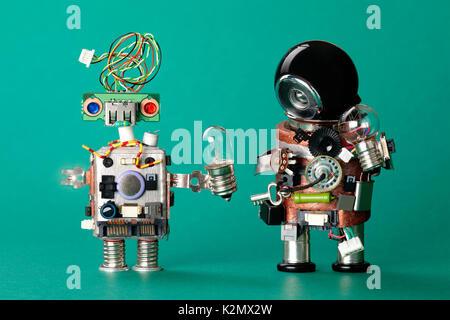 Futuristische Roboter Konzept mit elektrischen Draht Frisur ...