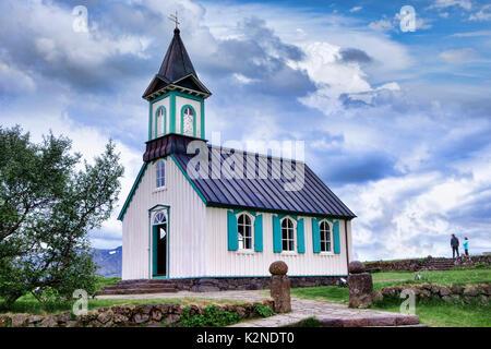 Kirche in Thingvellir Nationalpark Thingvellir, Island. - Stockfoto