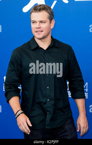 Venedig, Italien. 30 Aug, 2017. Matt Damon während des 'Downsizing' Fotoshooting auf dem 74. Internationalen Filmfestival - Stockfoto
