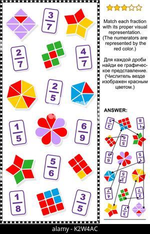 Pädagogische mathematische Rätsel für Lernen und Lehren Fraktionen ...