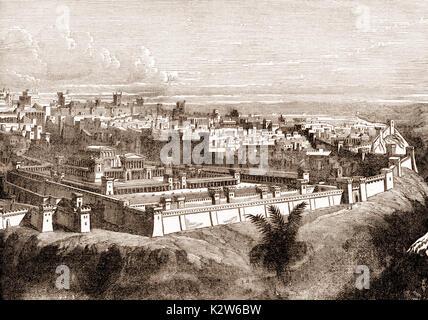 Die Stadt Jerusalem vor der Zerstörung des Tempels - Stockfoto