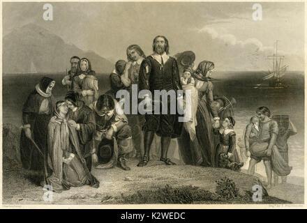 """Antike 1856 Gravur von """"Landung der Pilgerväter' von Charles Lucy (1814-1873). Quelle: ORIGINAL STAHLSTICH. - Stockfoto"""