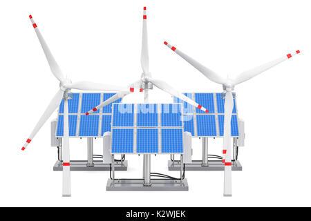 Erneuerbare Energie Konzept. Sonnenkollektoren und Windkraftanlagen, 3D-Rendering auf weißem Hintergrund - Stockfoto