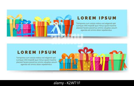 Geschenkboxen. Urlaub horizontale Banner Design. Vector Illustration - Stockfoto
