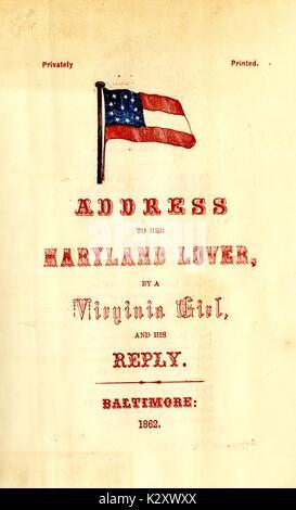 """Breitseite aus dem amerikanischen Bürgerkrieg, der den Titel """"Adresse zu ihrem Maryland Liebhaber von einem Virginian - Stockfoto"""