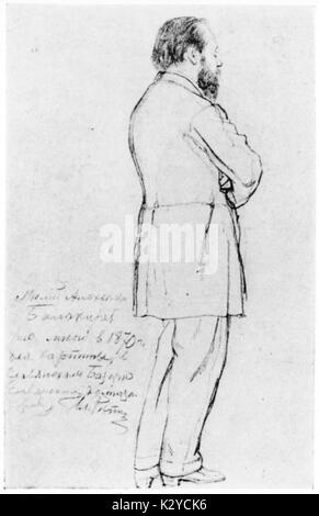 Mily Alexeyevich Balakirev - Maßzeichnung des russischen Komponisten von Ilja Repin, 1870. Alekseevic Milij Balakirev, - Stockfoto