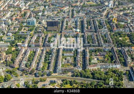 Wohnviertel in der Nähe von Kennedydamm, Gebäude, Mehrfamilienhäuser, Mietwohnungen, Kaiserswertherstrasse, Wall - Stockfoto