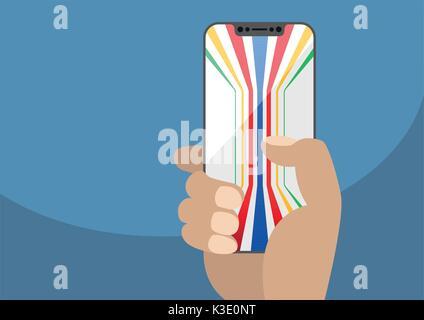 Hand, die Blende kostenlose Smart Phone. Generische bunten Hintergrund auf rahmenlose Touchscreen angezeigt. Abbildung - Stockfoto