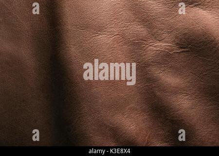 Italienischen natürlichen Braun aus echtem Leder mit Volle, detaillierte Textur - Stockfoto