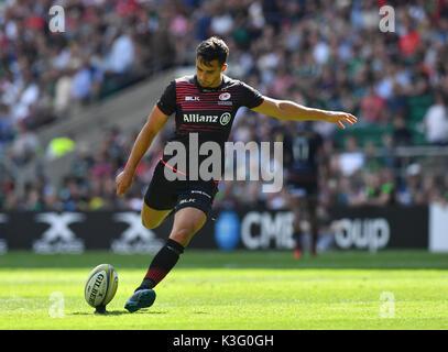 London, Großbritannien. 02 Sep, 2017. Während Aviva Premiership Rugby Sarazenen vs Northampton Saints Twickenham - Stockfoto