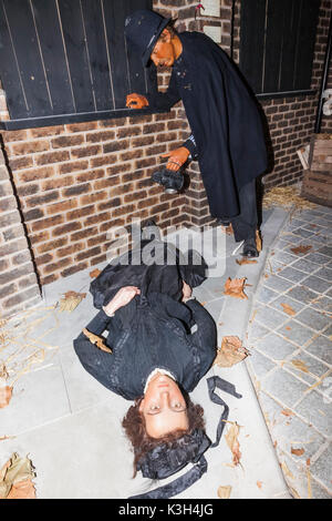 England, London, Whitechapel, Kabel-Straße, Jack The Ripper Museum, Ausstellung von Polizisten ermordeten Frau entdecken. - Stockfoto