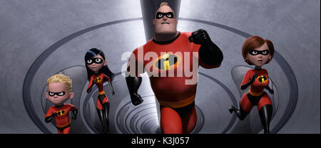 Die Unglaublichen - The Incredibles im Bild nach rechts: Dash, Violett, Incredible, und Elastigirl in einer Szene - Stockfoto